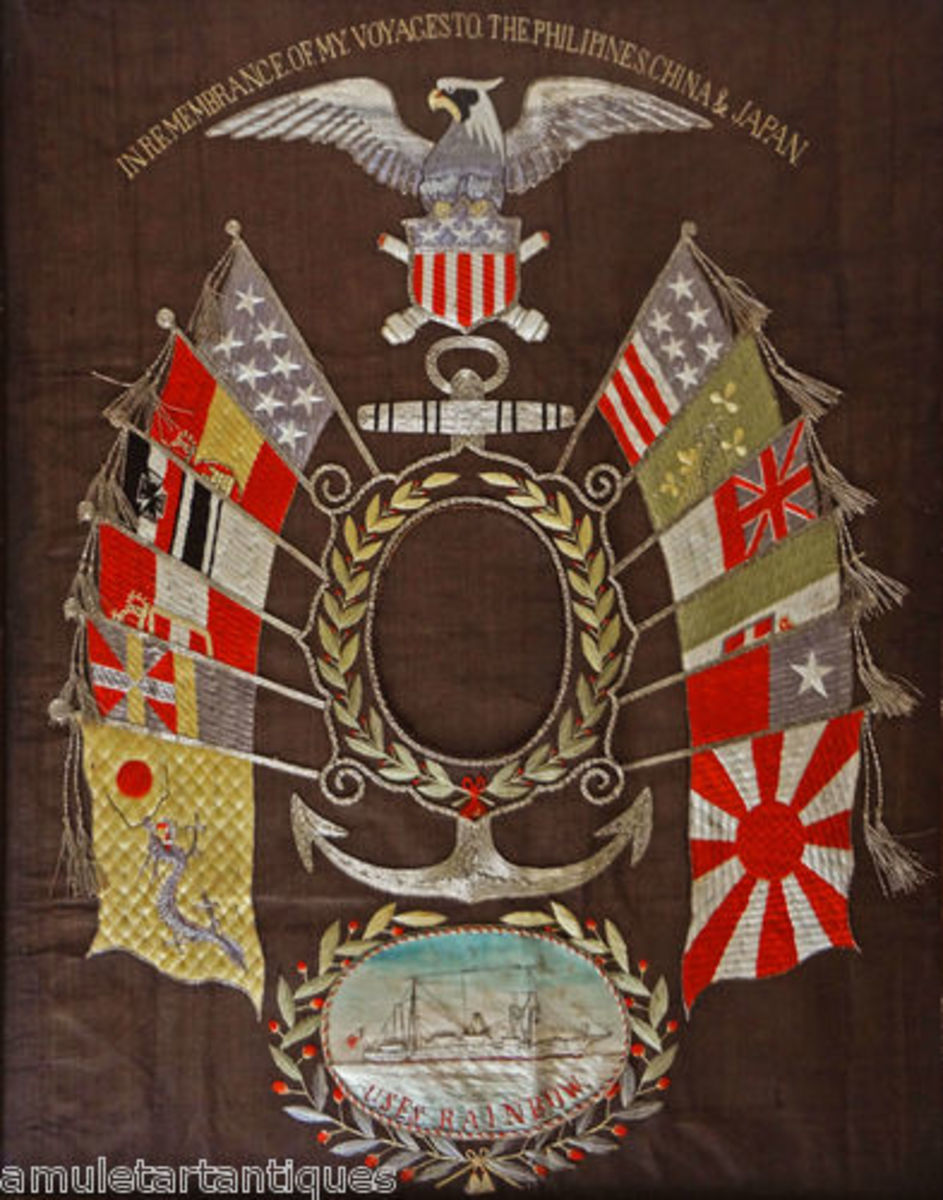 embroidered flags of various countries - Naval influence?