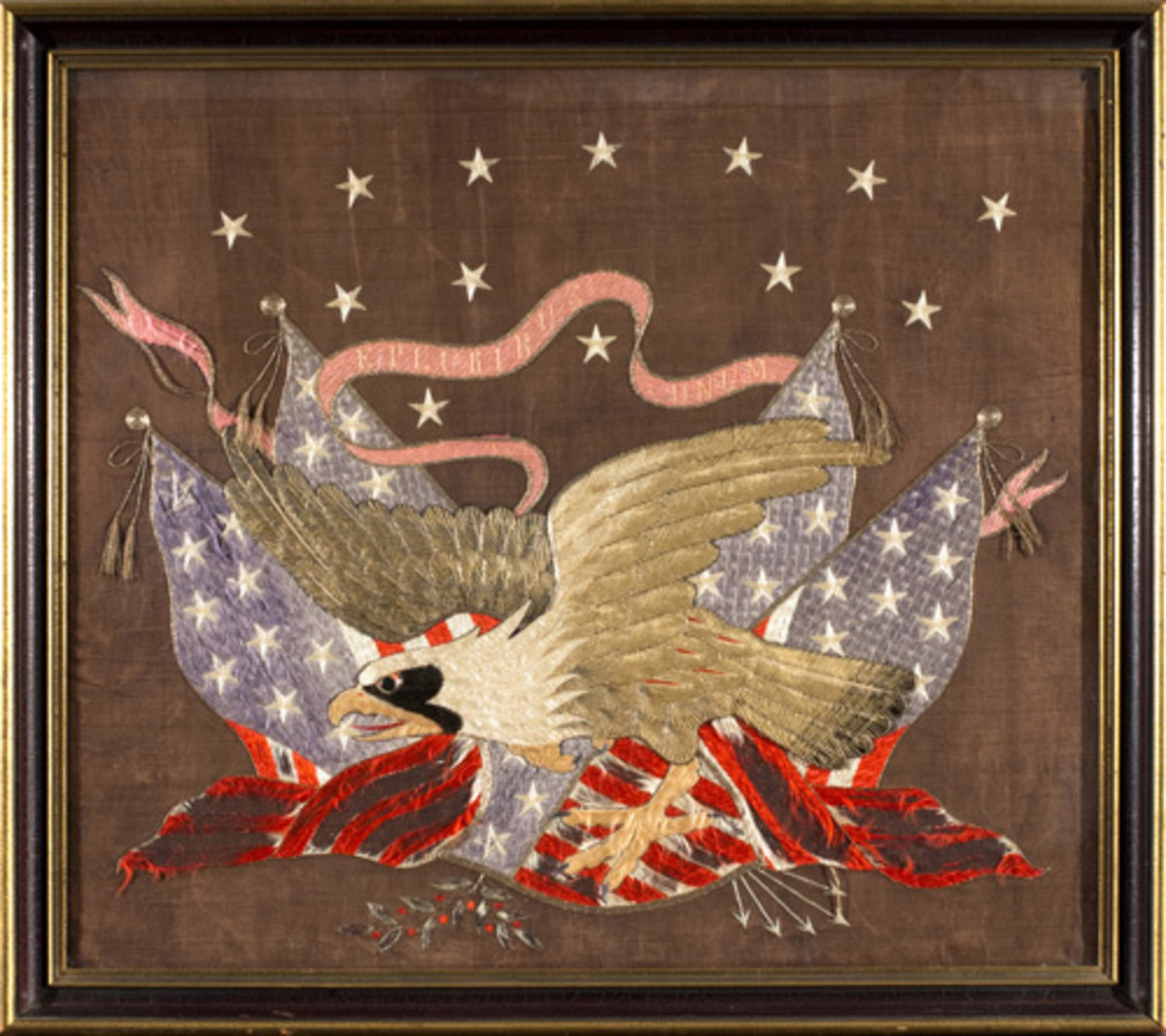 decorative embroidered eagle and four flags with stars