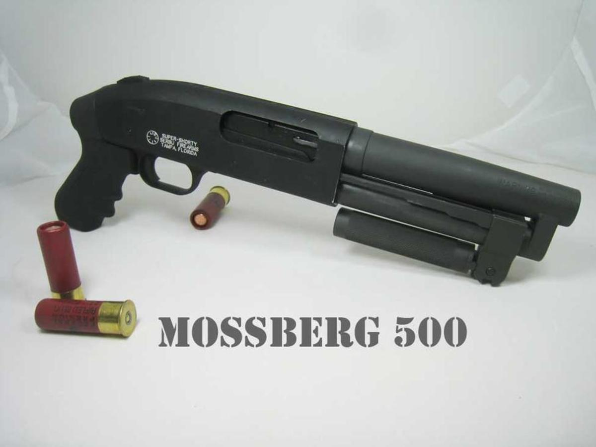 One last crazy iteration of this awesome weapon: the super Shorty, a shotgun built on the Mossberg 500 platform that can be stashed just about anywhere.