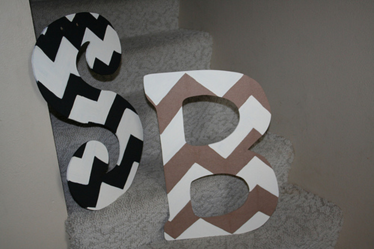 Chevron wall letters to hang in children's bedrooms, stairwells, living rooms, and more.
