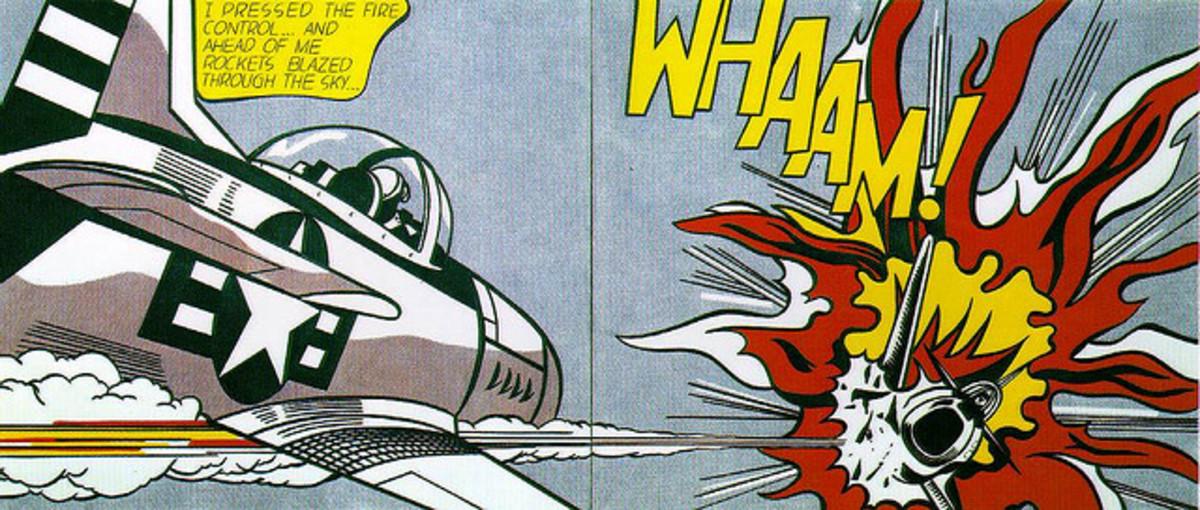 Roy Lichtenstein uses onomatopoeia in his comic-like art.