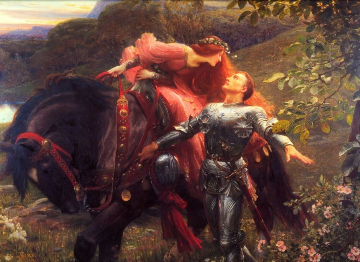 "Sir Frank Dicksee's visual depiction of Romantic poet John Keat's poem, ""La Belle Dame Sans Merci."""