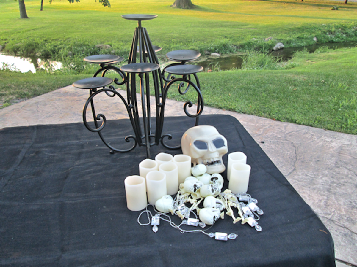 My candle holder (again not a traditional taper holder), skulls, skeletons, mini pillars and a bit of bling.