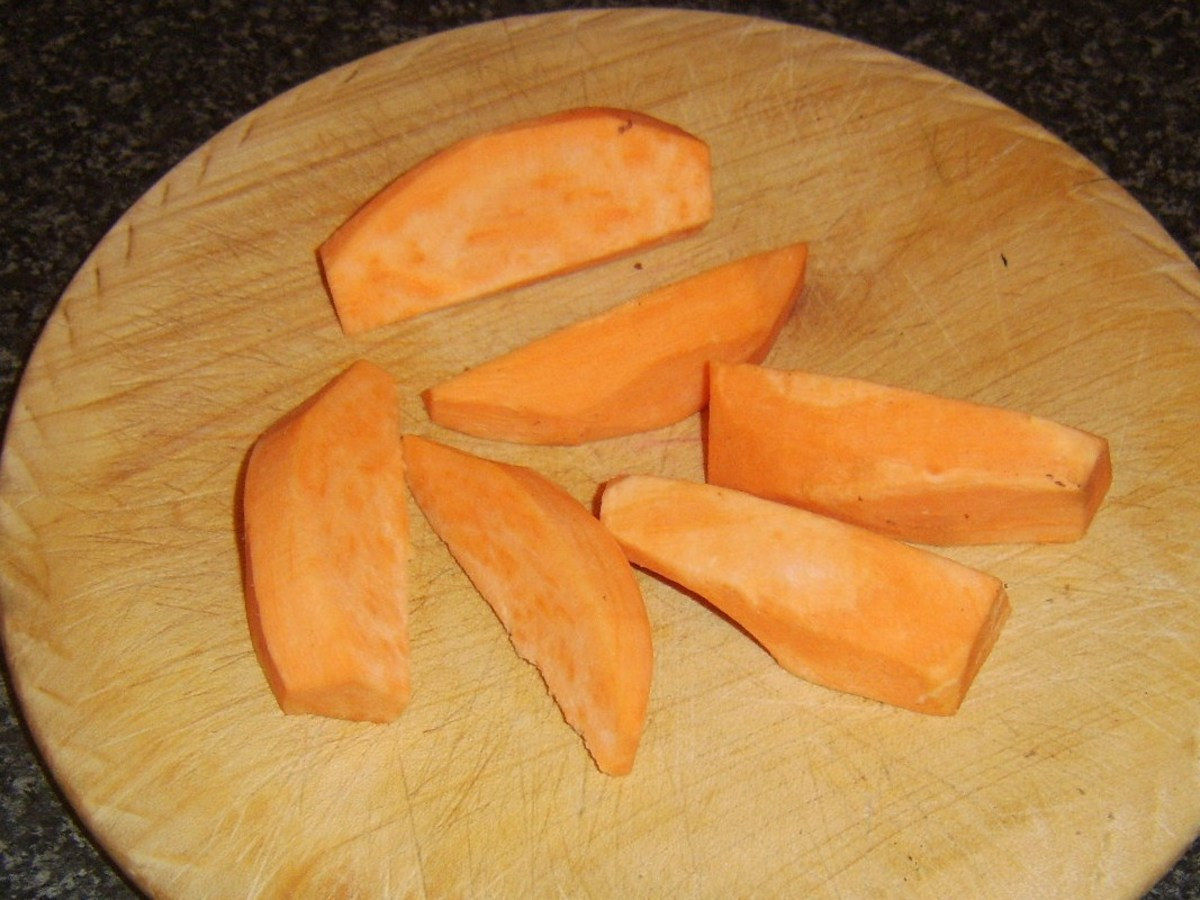 Chopped sweet potato for oven frying