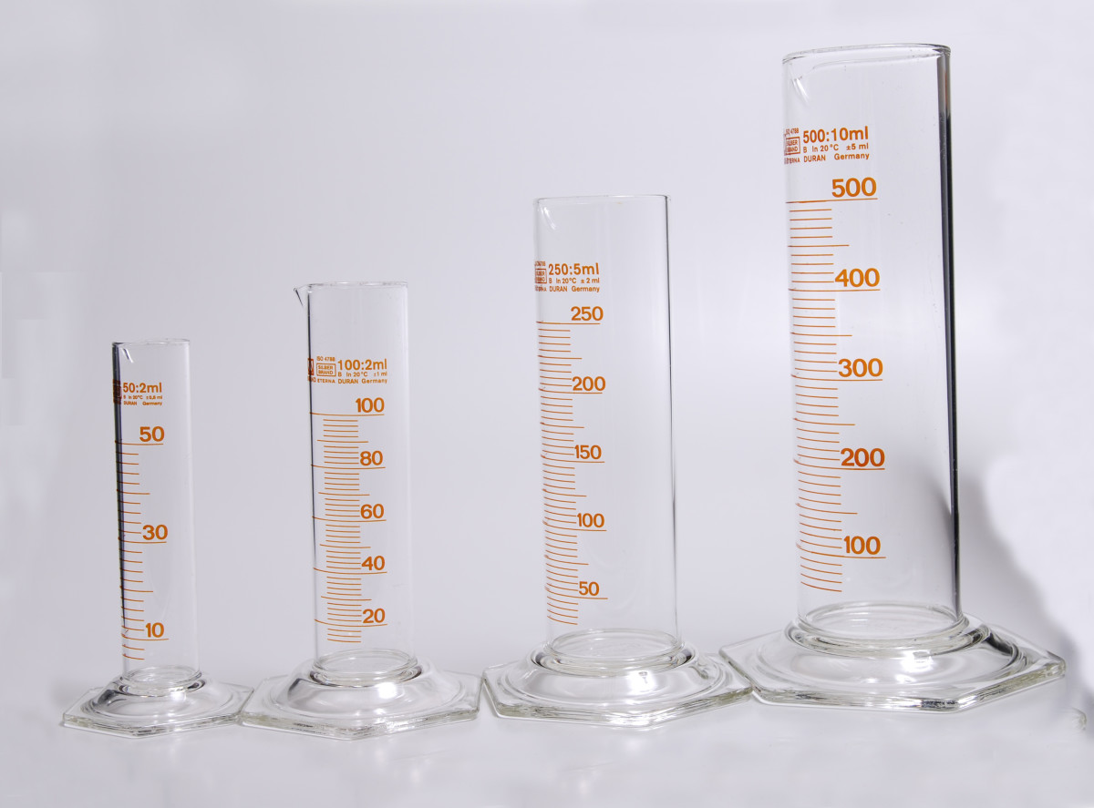 Graduated cylinders of various sizes and capacities.