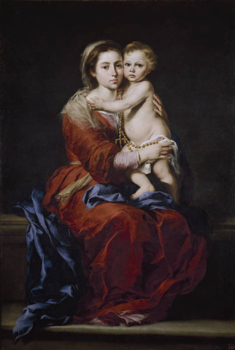 17th century painting of Our Lady of the Rosary by Bartolomé Esteban Murillo
