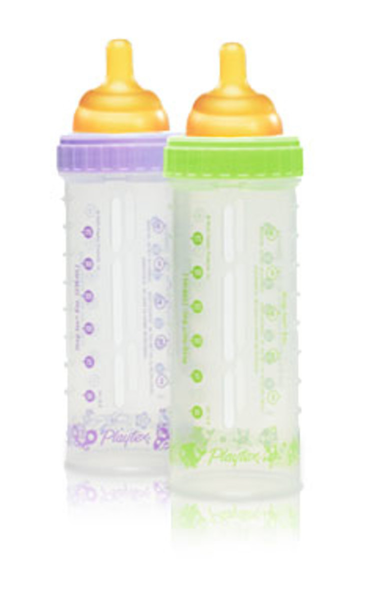 These bottles are a system that consists of an outer shell and an inner drop-in liner all held together by the cap that holds the nipple. Our favourite bottle feeding system.