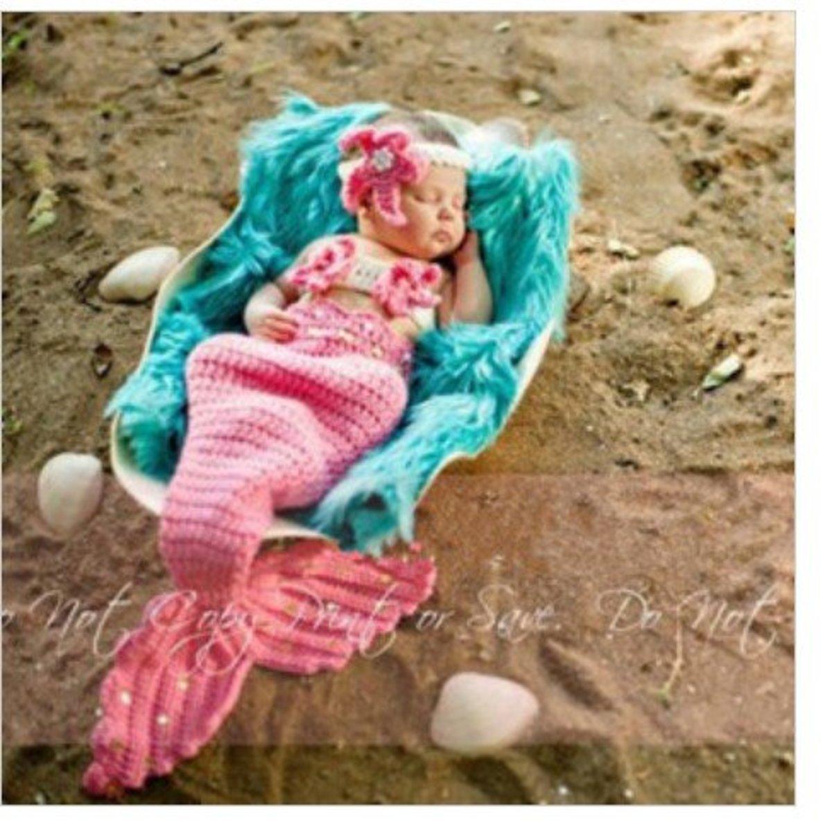 Crochet Pattern For Toddler Mermaid : Baby Mermaid Costume - Crochet Photo Props! Buy it or make it!