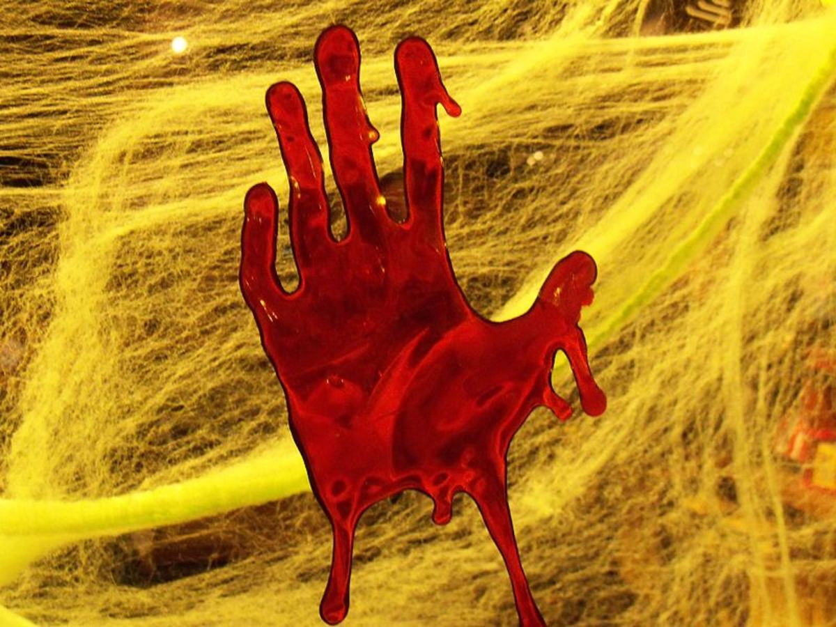 """Bloody hand print from a crime scene""."