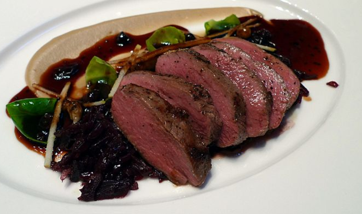 Braised red cabbage is great with game meat like this saddle of venison, duck breast or wild boar.