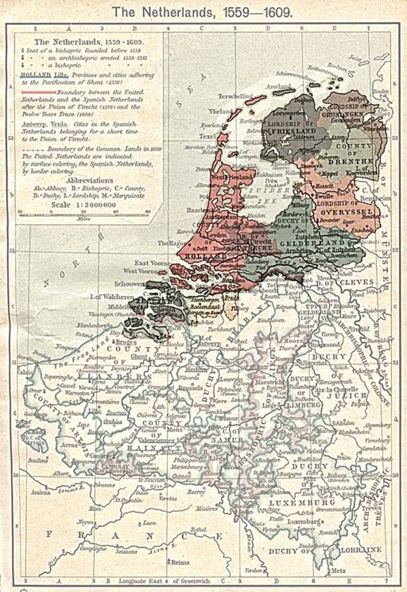 A map of the Dutch Republic as it was between 1559-1609.
