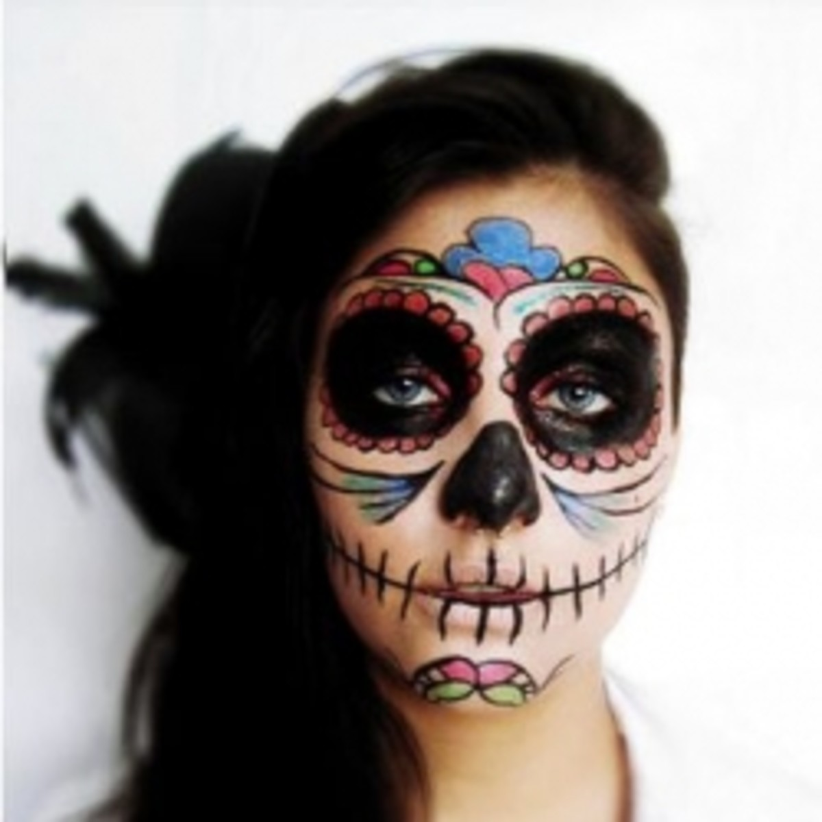 Makeup for Day of the Dead and Temporary Skull Face Tattoos