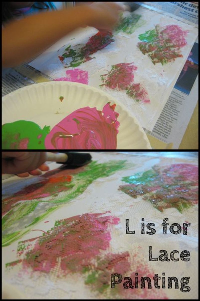 L is for Lace Painting Alphabet Activities