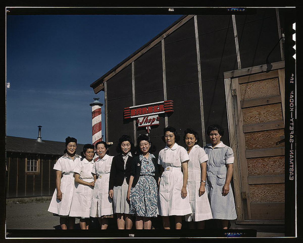 Women in front of barber shop at Tule Lake Relocation Center.