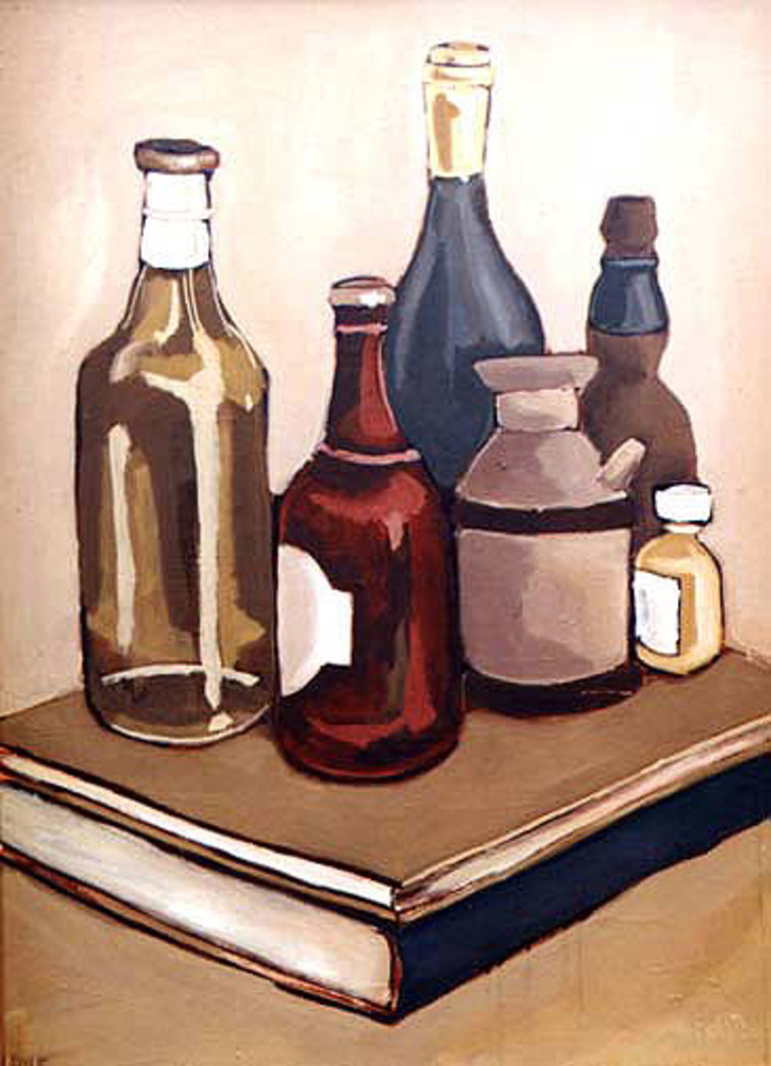 Oil on Board (1999) Bottles & Books - Dion Archibald.