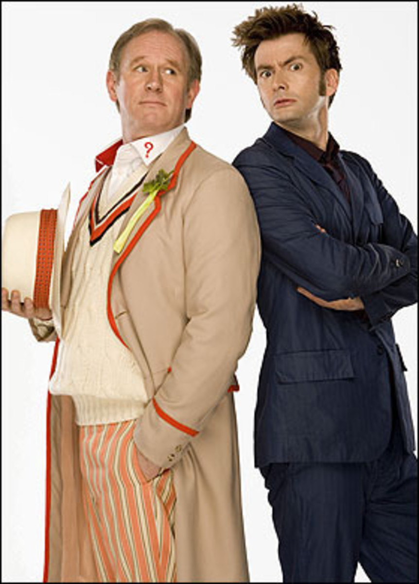 Fifth Doctor, Peter Davison, with 10th Doctor David Tennant.