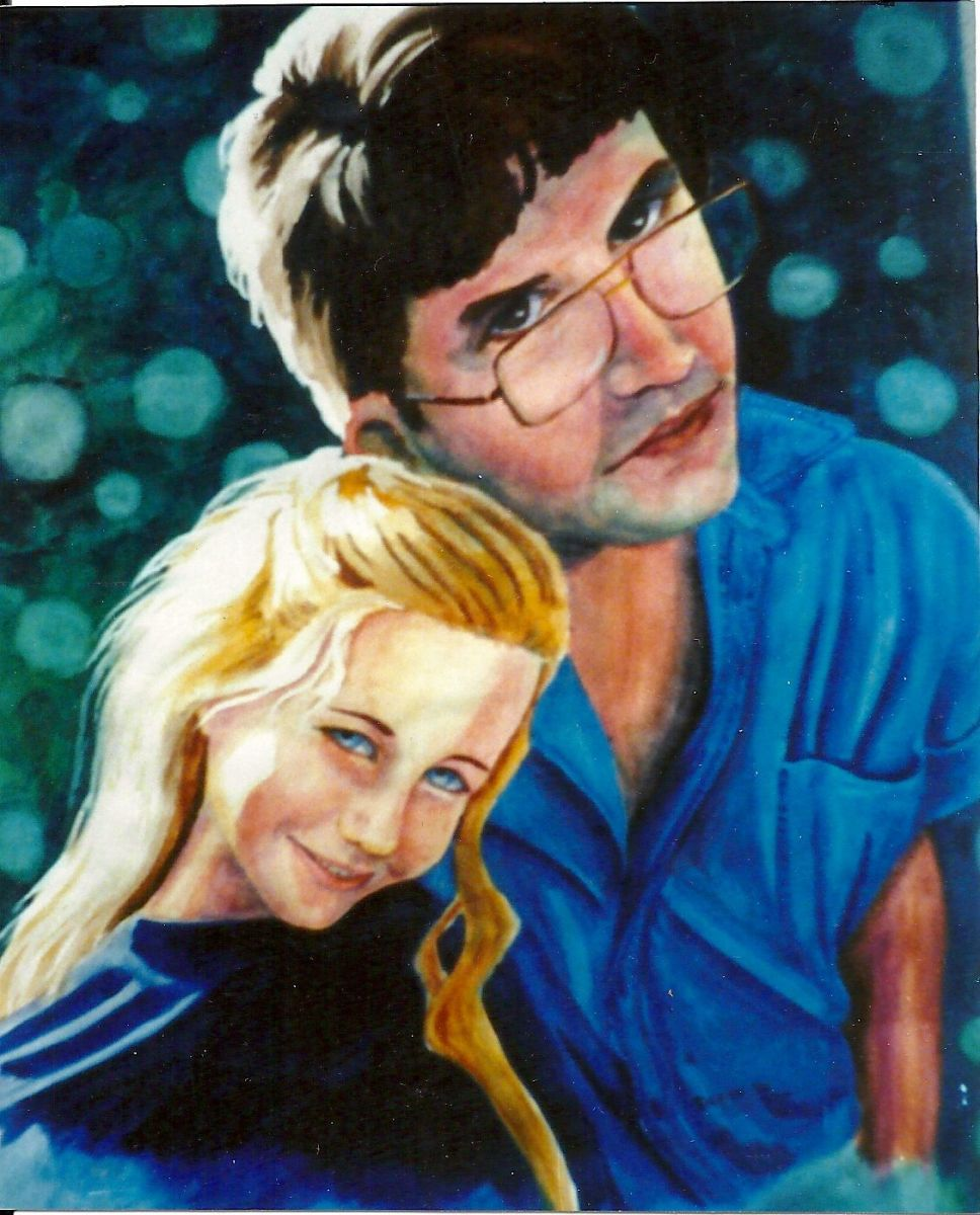 Watercolor of Carrie and Mike