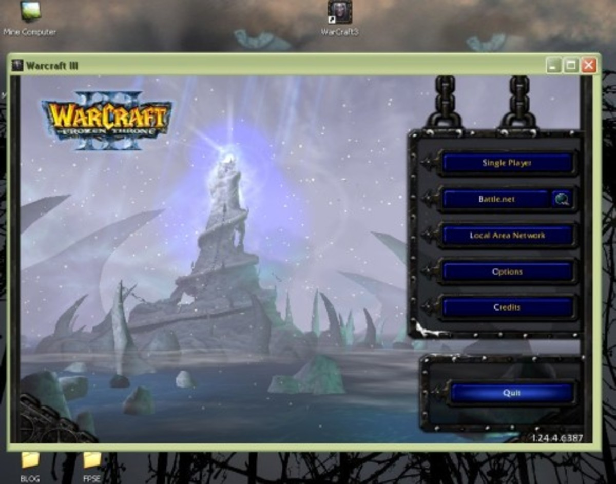 Warcraft 3, a successful RPG and strategy game, played in Window Mode.