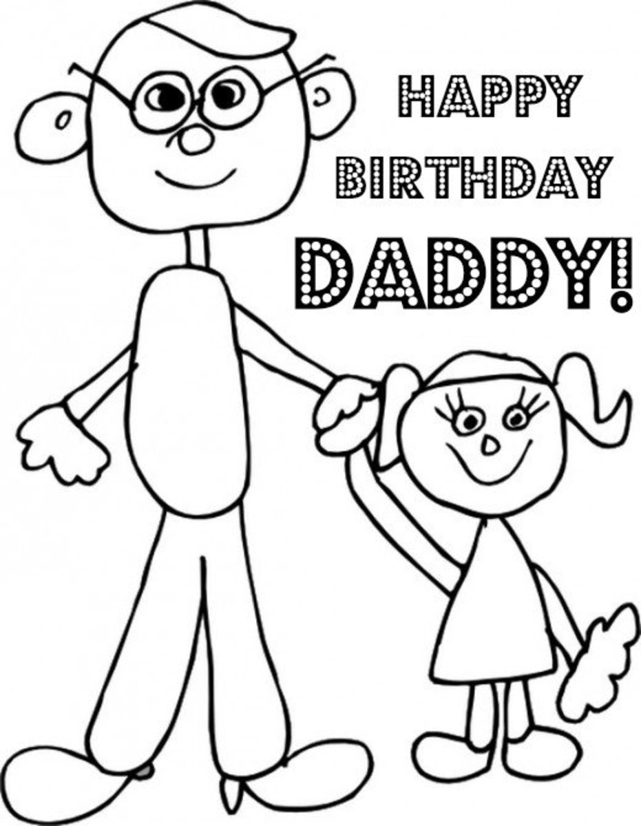 Dad Birthday Coloring Page from Daughter