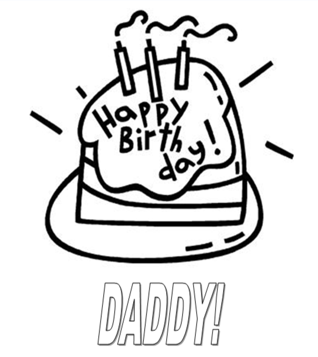 Daddy Happy Birthday Coloring Page