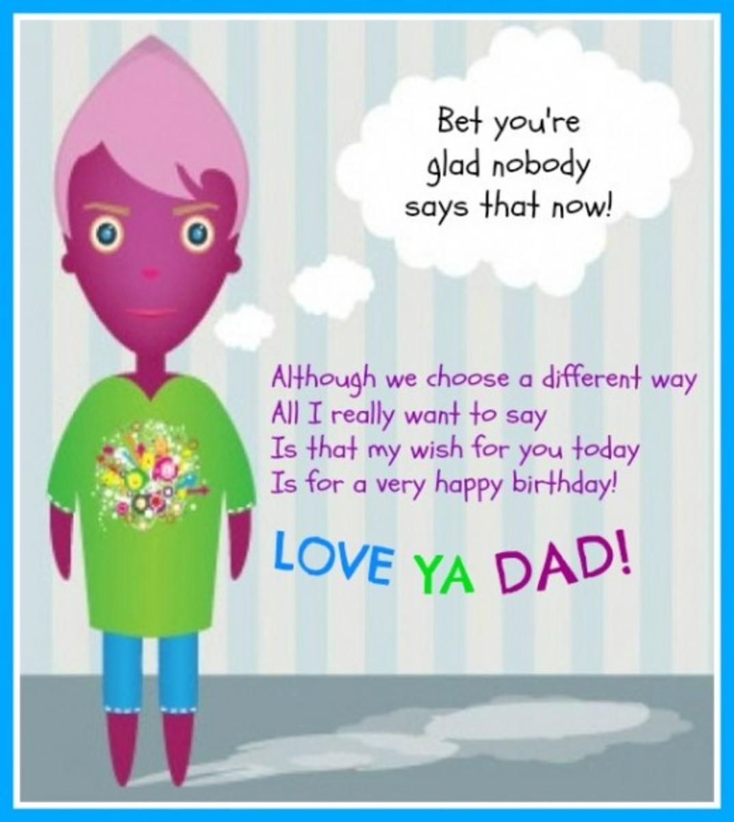 Inside Card Funny Birthday Poem for Dad