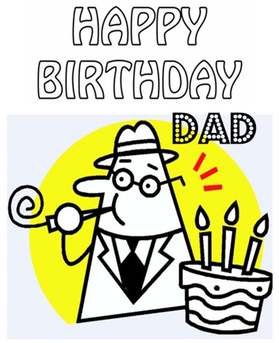 Happy Birthday Dad Coloring Page