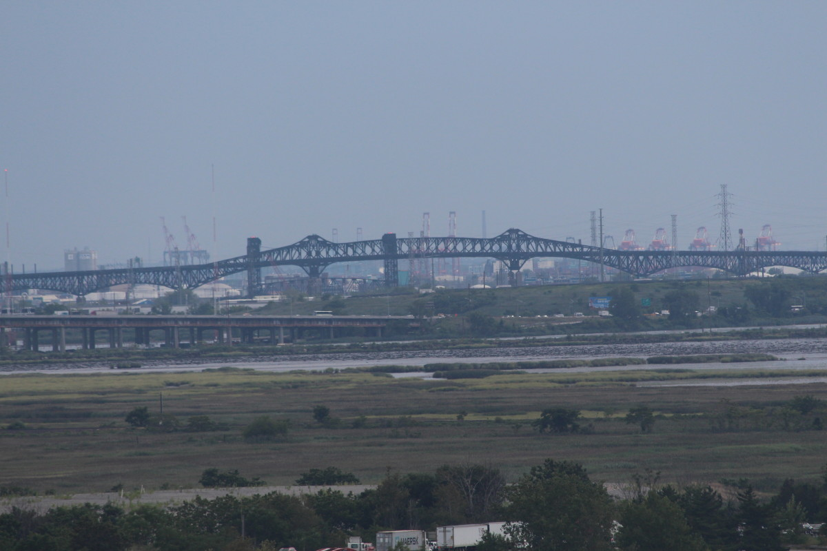 A view of the New York City Skyline from our room at the Sheraton Meadowlands Hotel.