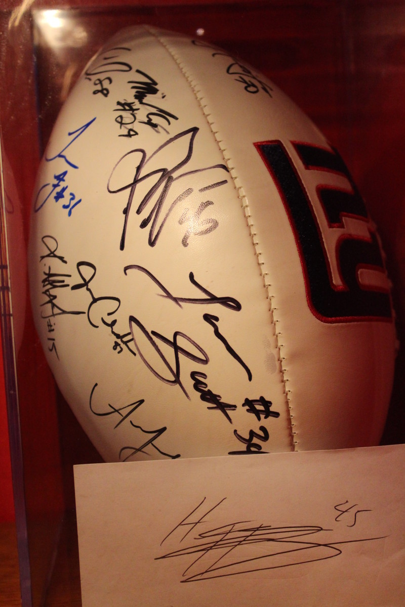 This autographed NY Giants Football will be treasured by my youngest son!