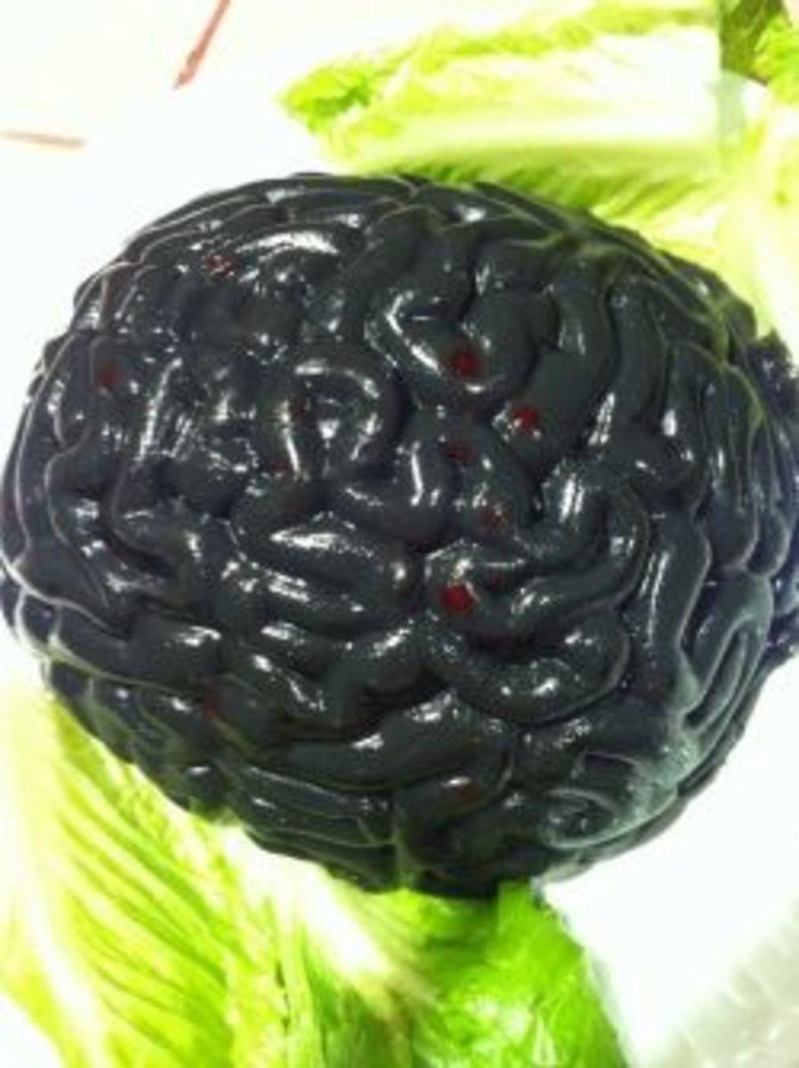Black Jello Brain with Gummy Worms