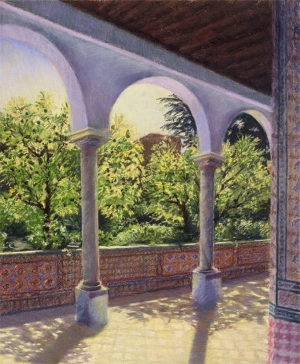 "Lime trees, Jardines de los Reales Alcazares, Seville(Pastel 25.5"" x 19.5"" ) by Katherine Tyrrell"