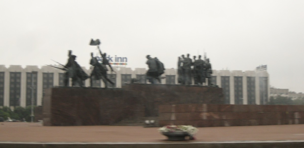 Sculptures of Leningraders enduring the siege.  These are a part of the large monument on Victory Square in St. Petersburg, Russia