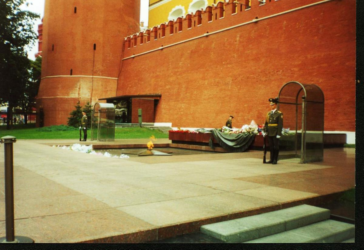 Military Honor Guard at Tomb of Russian WW II Unknown Solder along Kremlin Wall in Moscow.
