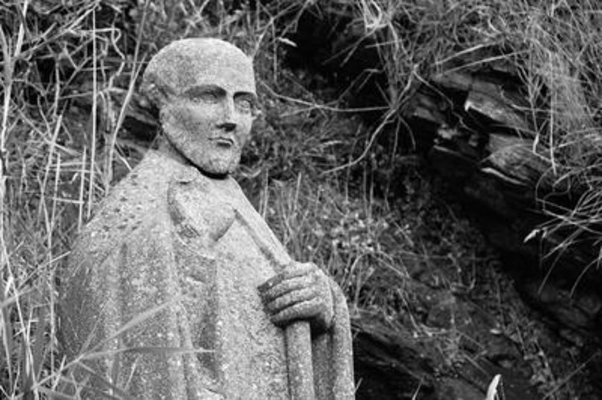 St Gildas statue - Gildas saw the incoming Angles and Saxons with extreme distaste, to the extent of 'falsifying' history with his jaundiced views of the inevitable