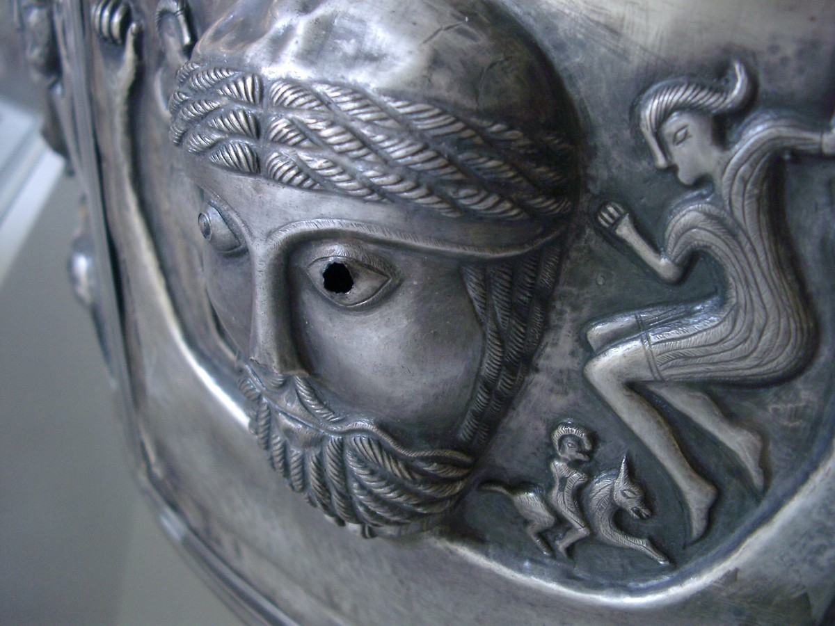 Detail, one of the panels on the Gundestrup cauldron showing a bearded god or hero