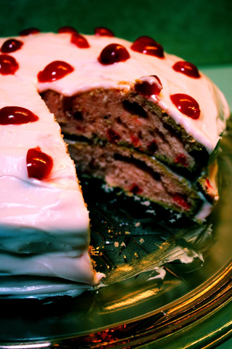 Maraschino Cherry Cake & Frosting.