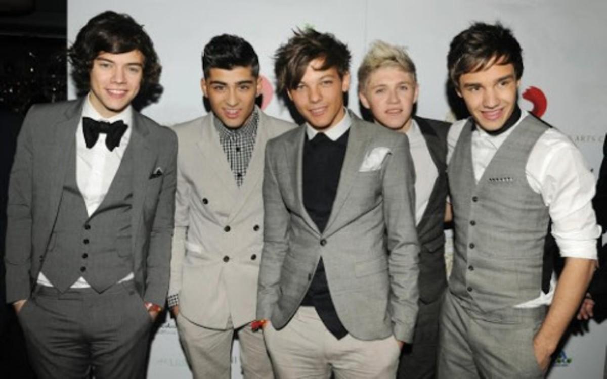 The men of One Direction look debonair in grey.