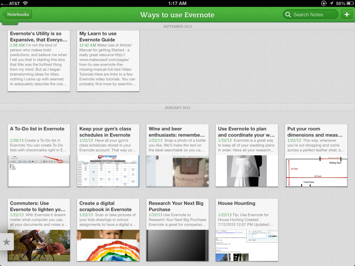 This screenshot is one of 3 Evernote notebooks I created while researching this topic for my lens. It was an early screenshot, before I had gathered much data, and each of the entries you see represent on note in a notebook I called 'Ways to use Ever