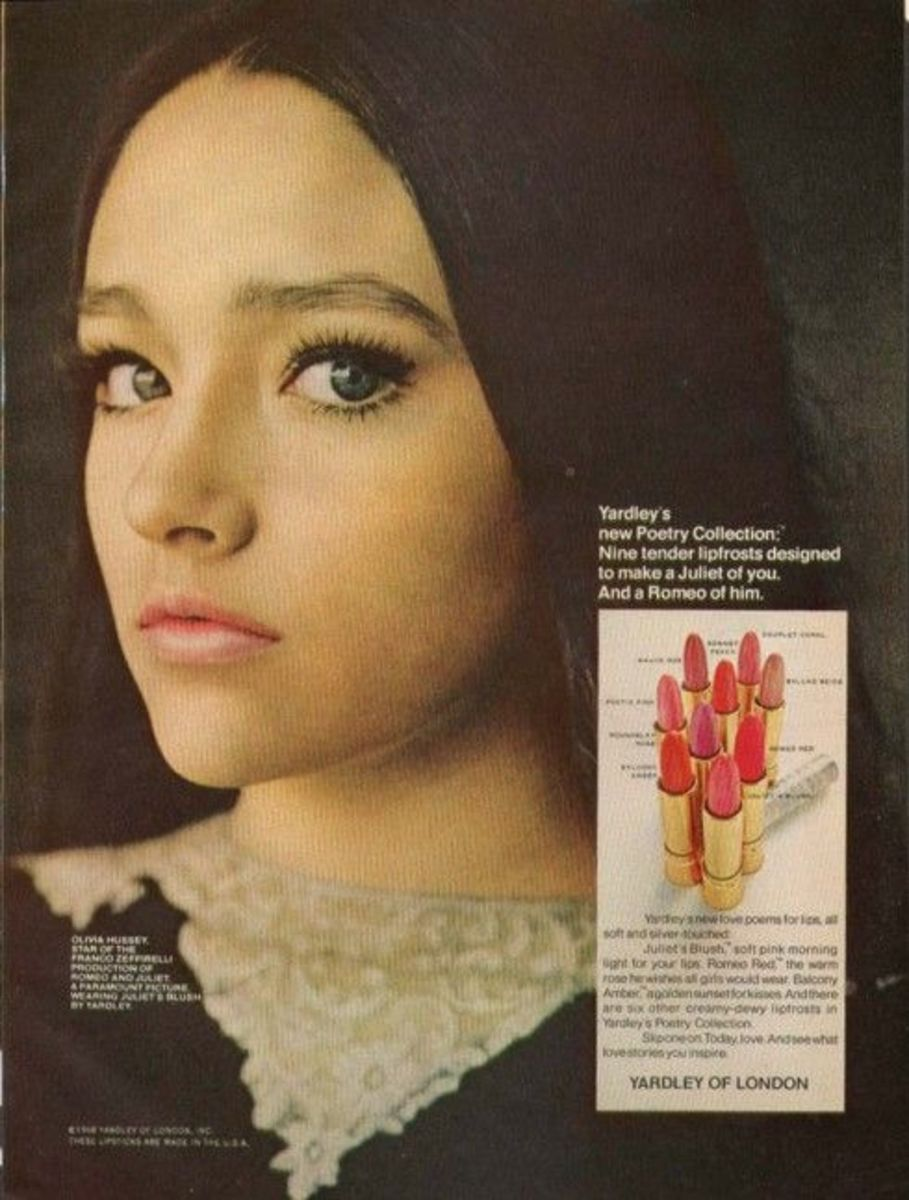 Olivia Hussey modeling Yardley lipstick from the Poetry Collection