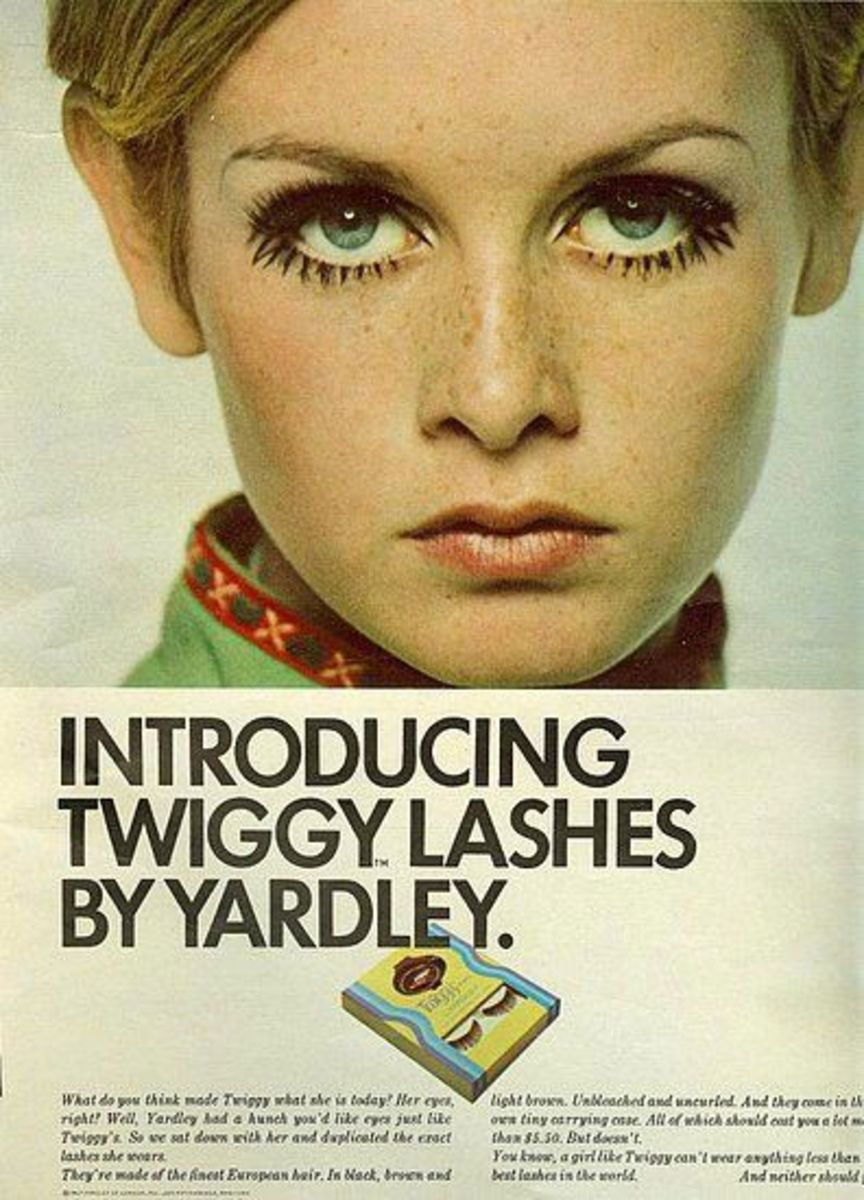 Yardley ad from Seventeen Magazine - Twiggy eyelashes