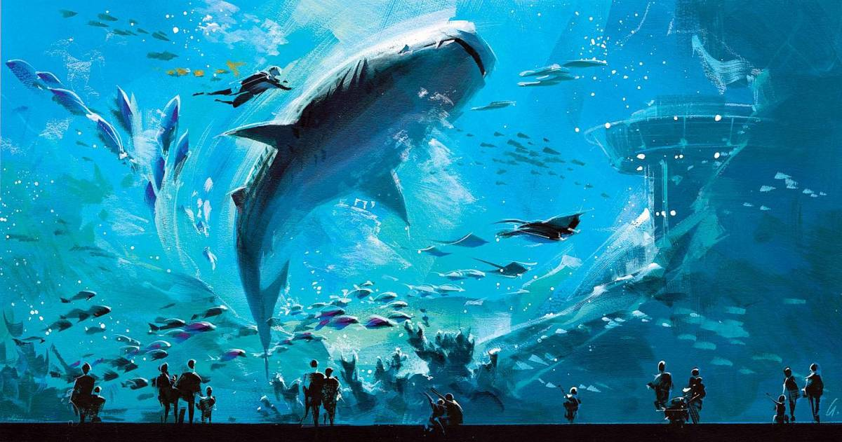 An incredible painting depicting Whale Sharks at Georgia Aquarium
