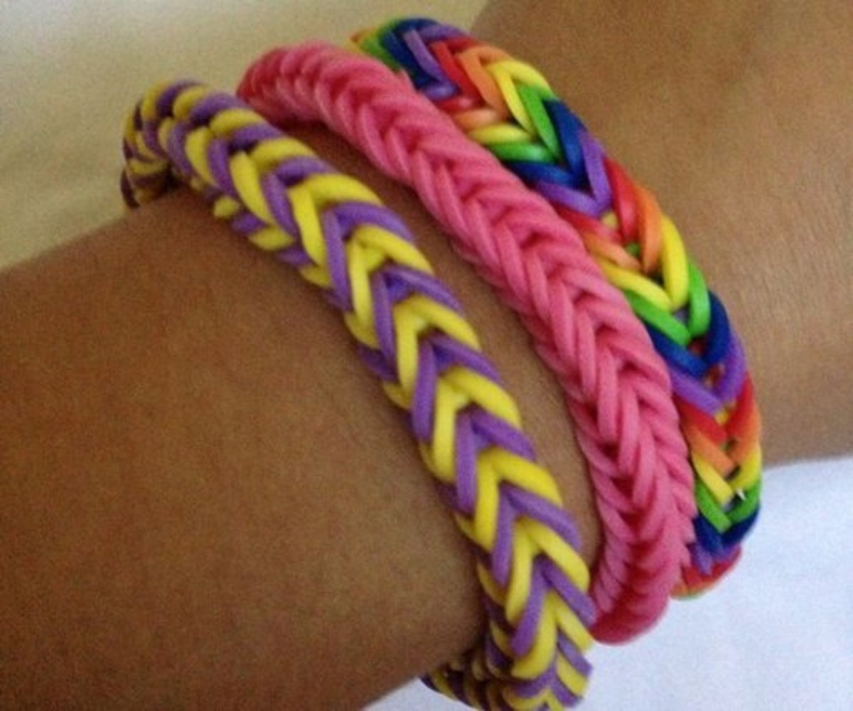 Finished Rainbow Loom Bracelets