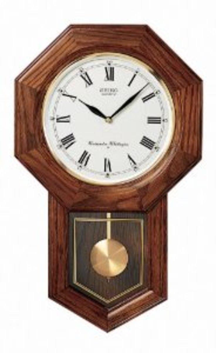 Seiko Dark Brown Oak Schoolhouse Wall Clock