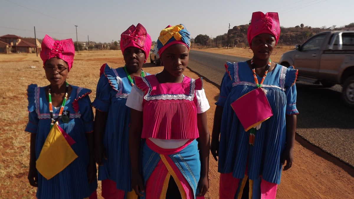Bapedi women in traditional dress on their way to a traditional 'come-together'...