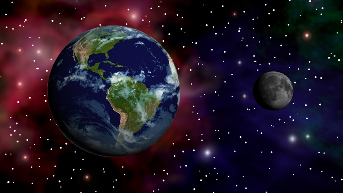 Animation of the alignment of the Earth and the Moon in space