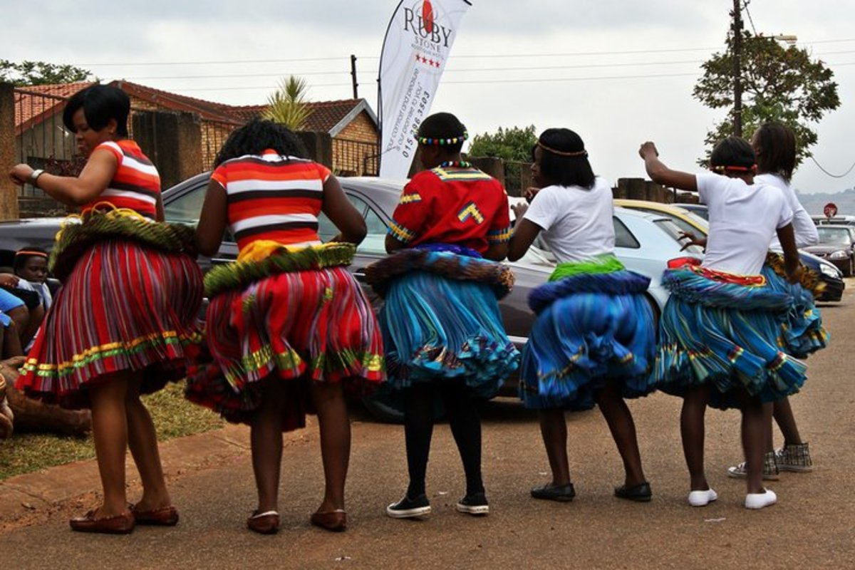 Shangaan Women Proudly showing their traditional dress(see their dance video above)