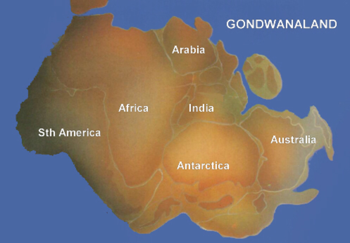 Gondwana included most of the landmasses in today's Southern Hemisphere, including Antarctica, South America, Africa, Madagascar and the Australian continent, as well as the Arabian Peninsula and the Indian subcontinent, which have now moved entirely