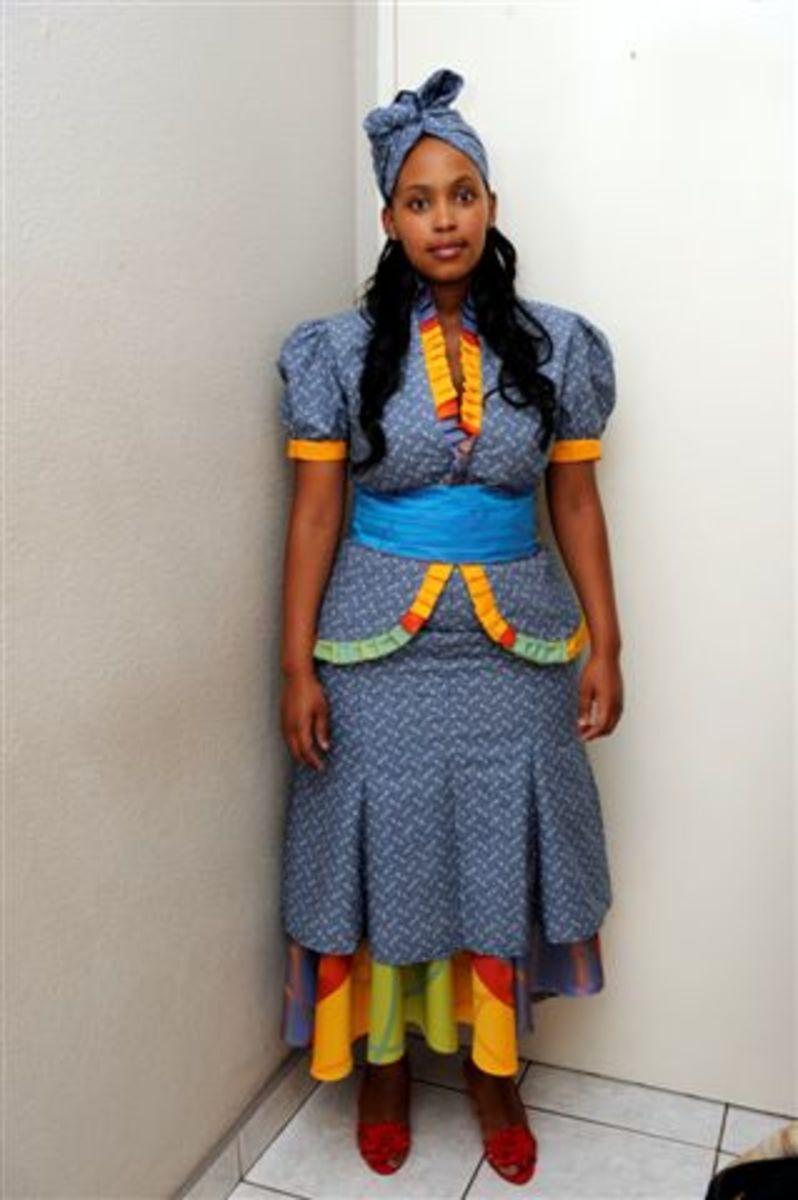 Tswana woman in full traditional dress