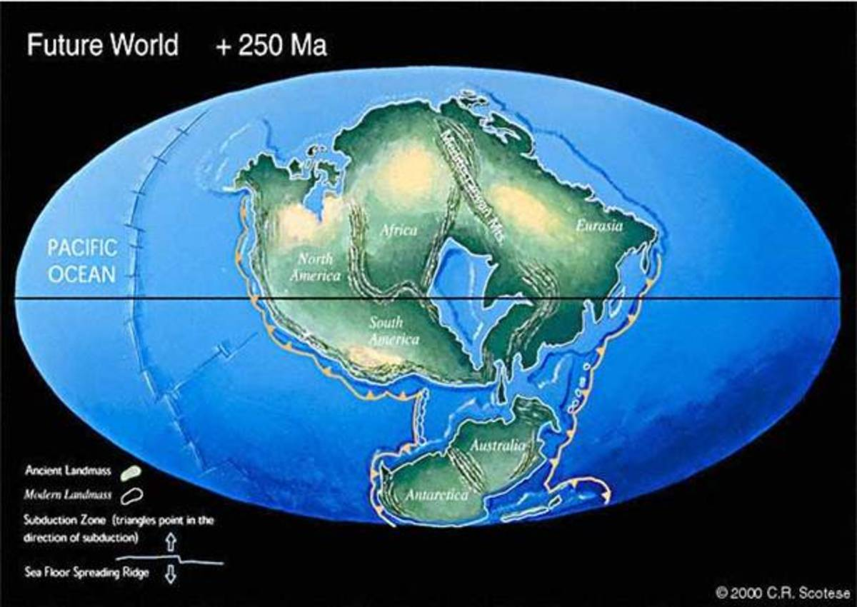 As continents Evolve, there's speculation that they might end up looking like the picture above dubbed Future World-or Pangea Ultima