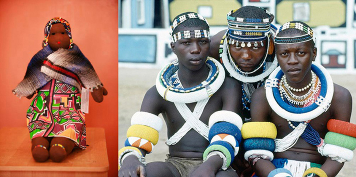 Ndebele Boys clad in traditional garb, and the attached photo is a Ndebele doll