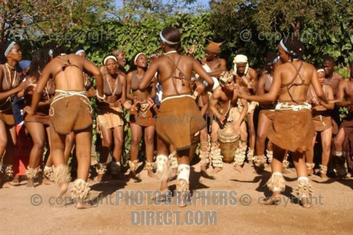 Batswana Boys and girls, dressed in their traditional clothing performing their customary/traditional dance
